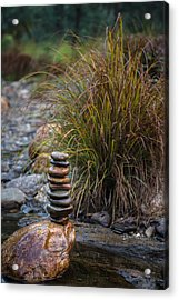Balancing Zen Stones In Countryside River V Acrylic Print by Marco Oliveira