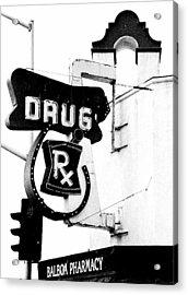 Balboa Drug Acrylic Print by Rosanne Nitti
