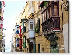 Balconies Of Valletta 3 Acrylic Print by Jasna Buncic