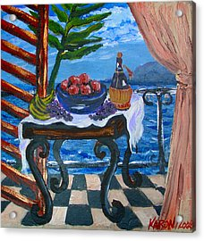 Balcony By The Mediterranean Sea Acrylic Print by Karon Melillo DeVega