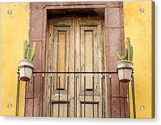 Balcony With Cacti Acrylic Print by Rob Huntley