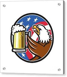 Bald Eagle Hoisting Beer Stein Usa Flag Circle Retro Acrylic Print by Aloysius Patrimonio