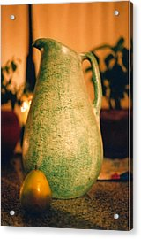 Bali Pitcher And Pear Acrylic Print by Heather S Huston