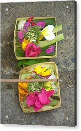Balinese Offering Baskets Acrylic Print by Mark Sellers