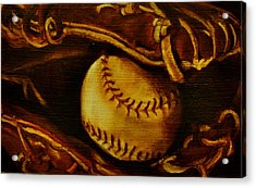 Ball In Glove 2 Acrylic Print by Lindsay Frost