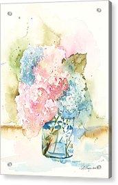 Acrylic Print featuring the painting Ball Jar Hydrangeas by Sandra Strohschein