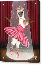 Acrylic Print featuring the painting Ballerina Cat - Dancing Siamese Cat by Carrie Hawks
