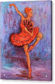 Ballerina Dancing With A Fan Acrylic Print