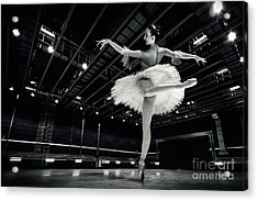 Acrylic Print featuring the photograph Ballerina In The White Tutu by Dimitar Hristov