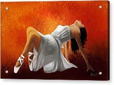Ballerina In White Acrylic Print
