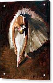 Ballerina With Pink Shoes Acrylic Print by Roelof Rossouw