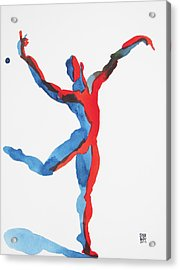 Acrylic Print featuring the painting Ballet Dancer 3 Gesturing by Shungaboy X