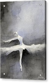 Ballet Dancer In White Tutu Watercolor Paintings Of Dance Acrylic Print