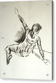 Ballet Dancer Sitting On Floor With Weight On Her Right Arm Acrylic Print