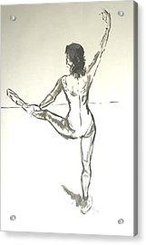 Ballet Dancer With Left Leg On Bar Acrylic Print