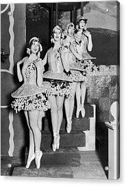 Ballet Dancers On Steps Acrylic Print by Underwood Archives