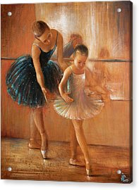 ballet lesson-painting on leather by Vali Irina Ciobanu  Acrylic Print