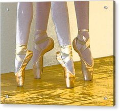 Ballet Second Position In Gold Acrylic Print