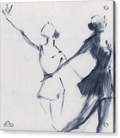 Ballet Sketch Two Dancers Mirror Image Acrylic Print