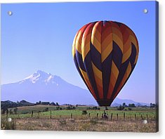 Balloon And Mt. Shasta Acrylic Print by Jim Nelson