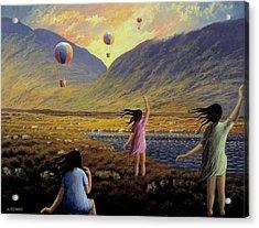 Balloon Children Acrylic Print by Alan Kenny