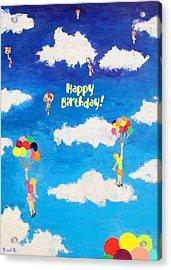 Balloon Girls Birthday Greeting Card Acrylic Print