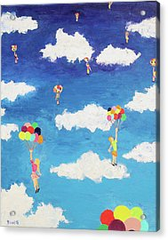 Acrylic Print featuring the painting Balloon Girls by Thomas Blood