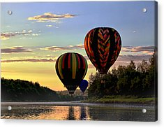 Balloon River Flight Acrylic Print by Gary Smith