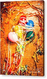 Balloons Entangled With Colorful Streamers Acrylic Print