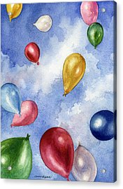 Acrylic Print featuring the painting Balloons In Flight by Anne Gifford