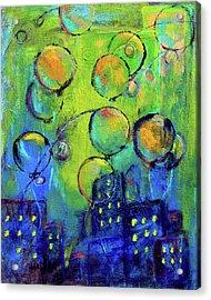 Cheerful Balloons Over City Acrylic Print
