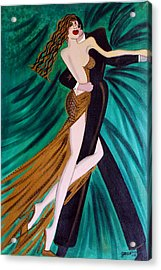 Ballroom Dancers Champagne Tango Acrylic Print by Helen Gerro