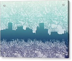 Acrylic Print featuring the painting Baltimore City Skyline Map 2 by Bekim Art