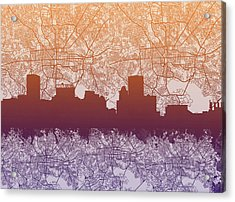 Acrylic Print featuring the painting Baltimore City Skyline Map by Bekim Art