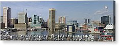 Baltimore Inner Harbor Panorama - Maryland Acrylic Print by Brendan Reals