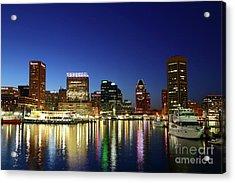 Baltimore Inner Harbor Reflections At Twilight Acrylic Print