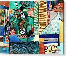 Baltimore Inner Harbor Street Performer Acrylic Print