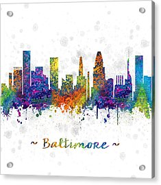 Baltimore Maryland Color 03sq Acrylic Print by Aged Pixel
