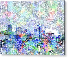 Acrylic Print featuring the painting Baltimore Skyline Watercolor 10 by Bekim Art