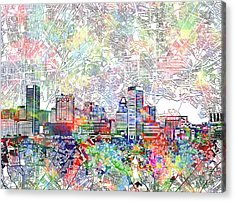 Acrylic Print featuring the painting Baltimore Skyline Watercolor 11 by Bekim Art