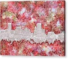 Acrylic Print featuring the painting Baltimore Skyline Watercolor 13 by Bekim Art