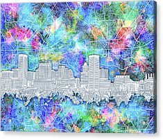 Acrylic Print featuring the painting Baltimore Skyline Watercolor 14 by Bekim Art