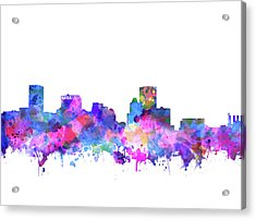 Acrylic Print featuring the painting Baltimore Skyline Watercolor 4 by Bekim Art