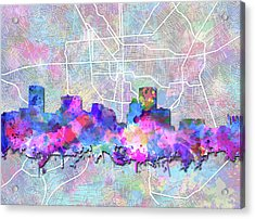 Acrylic Print featuring the painting Baltimore Skyline Watercolor 6 by Bekim Art
