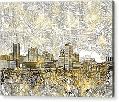 Acrylic Print featuring the painting Baltimore Skyline Watercolor 8 by Bekim Art