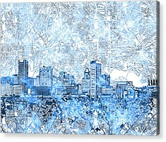 Acrylic Print featuring the painting Baltimore Skyline Watercolor 9 by Bekim Art
