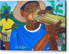 Acrylic Print featuring the painting Bamboo Blower In Haiti Rara Festival by Nicole Jean-Louis