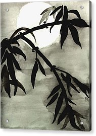 Bamboo In Moonlight - Watercolor Painting Acrylic Print by Merton Allen