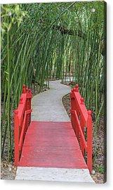 Bamboo Path Through A Red Bridge Acrylic Print