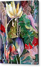 Banana And Pods Acrylic Print by Mindy Newman